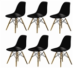 Fine Mod Imports Molded Plastic Side Chair WoodLeg Base in Black Shell Set Of 6