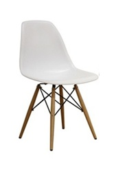 Fine Mod Imports Molded Plastic Side Chair WoodLeg Base
