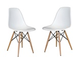 Fine Mod Imports Molded Plastic Side Chair WoodLeg Base Set Of 2