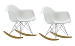 Fine Mod Imports Molded White Plastic Armchair Rocker Set Of 2