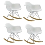 Fine Mod Imports Molded White Plastic Armchair Rocker Set Of 4