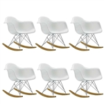 Fine Mod Imports Molded Plastic Armchair Rocker Set Of 6