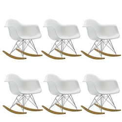 Fine Mod Imports Molded White Plastic Armchair Rocker Set Of 6