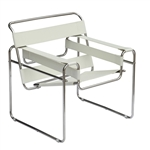 Fine Mod Imports Wassily Style Tubular Steel Chair by Marcel Breuer in White/ Black