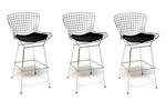 Fine Mod Imports Bertoia Wire Style Counter Stool Chair Set Of 3