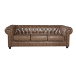 Fine Mod Imports Chestfield Aristocrat Sofa in Brown Leather