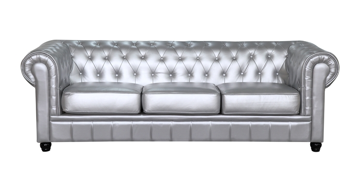 Silver Couch Zahara Leather Sofa Free Shipping Today Overstock Simple Design Ideas