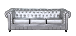Fine Mod Imports Chestfield Aristocrat Sofa in Silver Leather