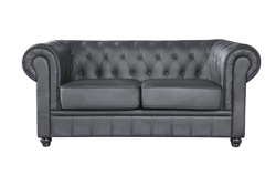 Fine Mod Imports Chestfield Aristocrat Loveseat Black Leather