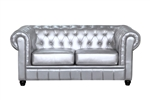 Fine Mod Imports Chestfield Aristocrat Loveseat Silver Leather