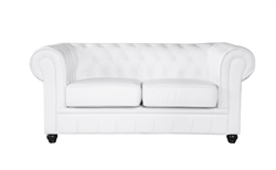 Fine Mod Imports Chestfield Aristocrat Loveseat White Leather