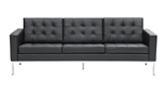 Fine Mod Imports Florence Style Modern Upholstered Sofa in Black Leather