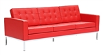 Fine Mod Imports Florence Style Modern Upholstered Sofa in Red Leather
