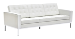 Fine Mod Imports Florence Style Modern Upholstered Sofa in White Leather