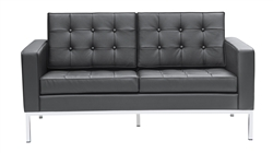 Fine Mod Imports Florence Style Modern Upholstered Loveseat in Black Leather