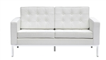 Fine Mod Imports Florence Style Modern Upholstered Loveseat in White Leather