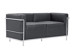 Fine Mod Imports LC3 Grand Loveseat In Black Leather