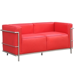 Fine Mod Imports LC3 Grand Loveseat In Red Leather