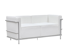 Fine Mod Imports LC3 Grand Loveseat In White Leather