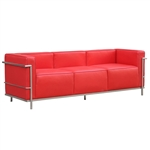 Fine Mod Imports LC3 Grand Sofa In Red Leather