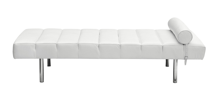 - Classic Modern Daybed In White Italian Leather