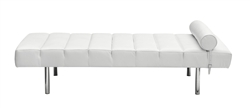 Fine Mod Imports Classic Modern Daybed In White Italian Leather