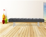 Fine Mod Imports Classic Leather Bench 3 Seater in Black Leather