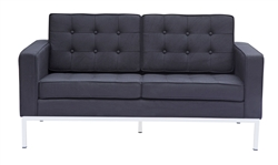 Fine Mod Imports Florence Modern Upholstered Loveseat in Black Wool