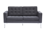 Fine Mod Imports Florence Modern Upholstered Loveseat in Gray Wool
