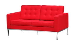 Fine Mod Imports Florence Modern Upholstered Loveseat in Red Wool