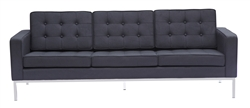 Fine Mod Imports Florence Style Modern Upholstered Sofa in Black Wool