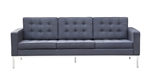 Fine Mod Imports Florence Style Modern Upholstered Sofa in Gray Wool