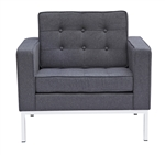 Fine Mod Imports Florence Style Modern Upholstered Arm Chair in Gray Wool