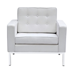 Fine Mod Imports Florence Style Modern Upholstered Arm Chair in White Wool