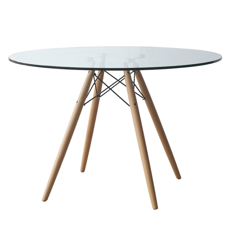 DSW WoodLeg Dining Table  Glass Top