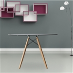 "Fine Mod Imports DSW WoodLeg Dining Table 48"" Glass Top"