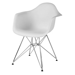 Fine Mod Imports Molded Plastic Armchair with WireLeg Base