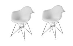 Fine Mod Imports Molded Plastic Armchair with WireLeg Base Set Of 2