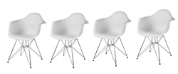 Fine Mod Imports Molded Plastic Armchair with WireLeg Base Set Of 4