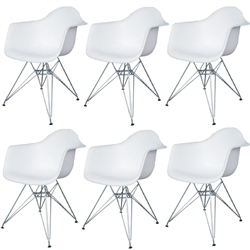 Fine Mod Imports Molded Plastic Armchair with WireLeg Base Set Of 6