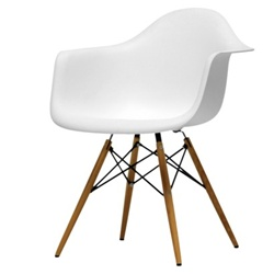 Fine Mod Imports Molded Plastic Armchair with WoodLeg Eiffel Legs