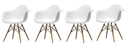 Fine Mod Imports Plastic Armchair with WoodLeg Eiffel Legs Set Of 4