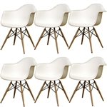 Fine Mod Imports Plastic Armchair with WoodLeg Eiffel Legs Set Of 6
