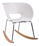 Fine Mod Imports Molded White Plastic Vac Arm Rocker Chair