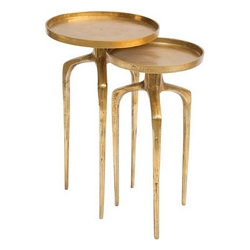 Zuo Modern Como Accent Table Set Antique Gold