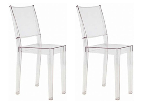 Philippe Starck Style Ghost Clear Square Side Chair Set Of 2