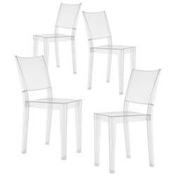 Fine Mod Imports Philippe Starck Style Ghost Clear Square Side Chair Set Of 4