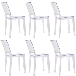 Fine Mod Imports Philippe Starck Style Ghost Clear Square Side Chair Set Of 6