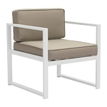 Zuo Modern Golden Beach Arm Chair White & Taupe