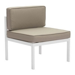 Zuo Modern Golden Beach Middle Chair White & Taupe